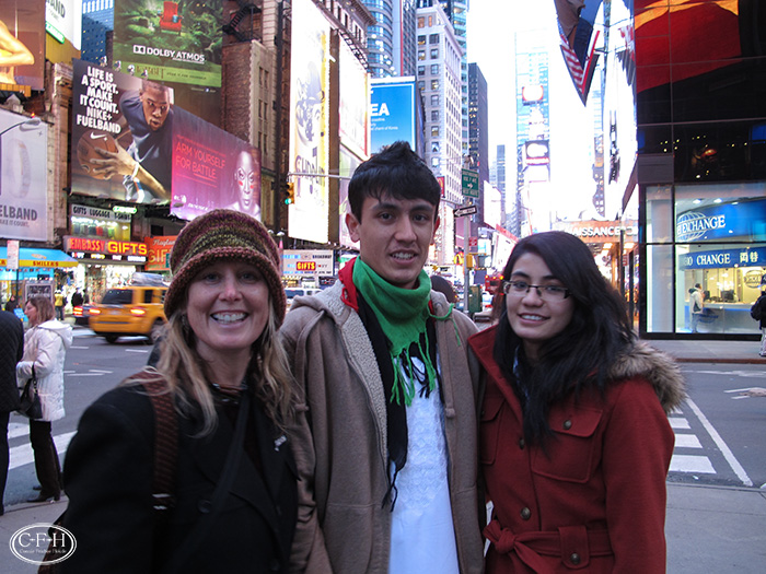 Lynne, Qil, and Marsella on Times Square.